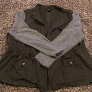 Army Green Field Jacket w/ sweatshirt sleeves